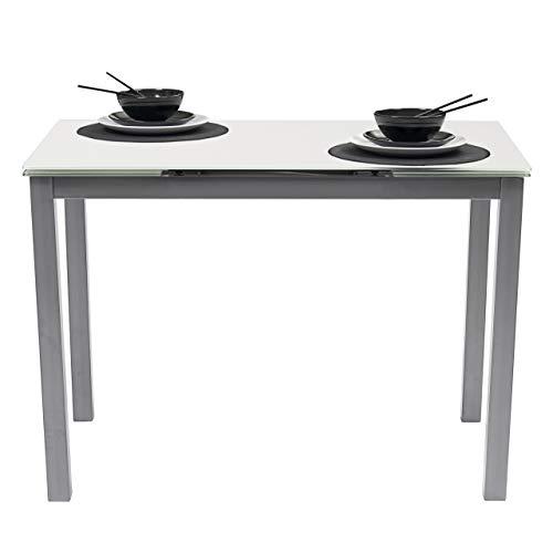 Homely Mesa de Cocina Extensible Paris sobre de Cristal Blanco y Estructura en Metal Gris 110/170x70cm (Blanco/Gris)