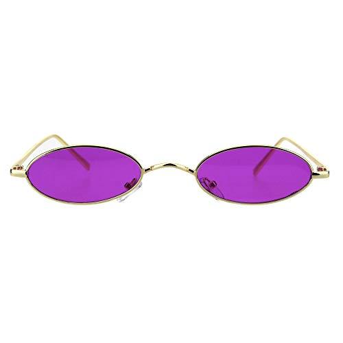 Mens Narrow Oval Pimp Daddy Gold Metal Rim Sunglasses -
