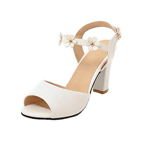 Ouverture Blanc Haut Sandales à TSFLH005986 Boucle Femme d'orteil Talon AalarDom pq6x5zw7