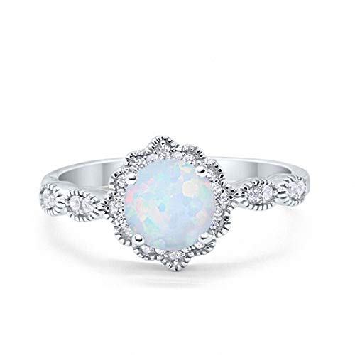Blue Apple Co. Halo Floral Art Deco Wedding Engagement Ring Created White Opal Round Cubic Zirconia 925 Sterling Silver, Size-7
