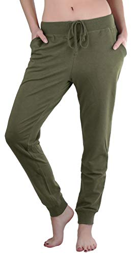 ToBeInStyle Women's Solid Print French Terry Jogger Pants (Large, Military Green)