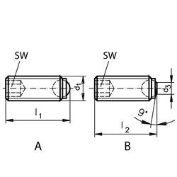 Ball-ended thrust screws made of steel, shape B M 1625mm long