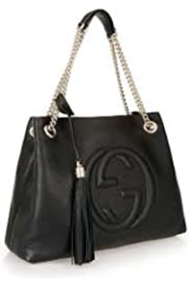 Gucci Soho Medium Black Double Leather Chain Shoulder Bag Tote Black Gold  New bcd060ef9ce11