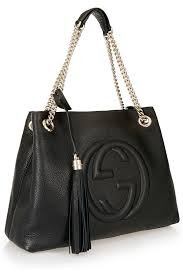Gucci Soho Medium Black Double Leather Chain Shoulder Bag Tote Black Gold New (Gucci Shoulder Handbag Fashion)