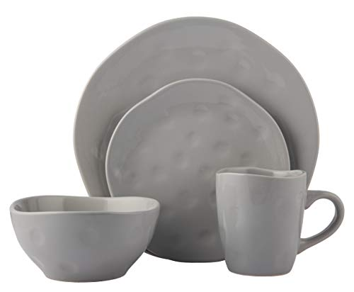 -Piece Dinnerware Set | Irregular Shape Collection | Service for 4 | Microwave, Dishwasher & Oven Safe | Dinner Plate, Salad Plate, Soup Bowl & Mug, Grey (4 Each) ()