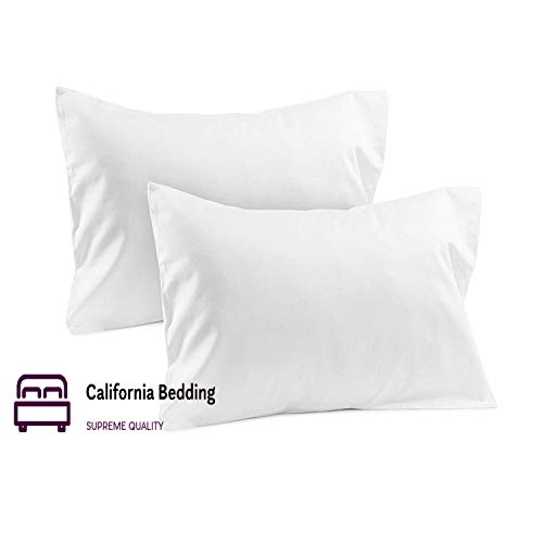 California Bedding 800 Thread Count True Luxury 100% Pure Natural Egyptian Cotton Toddler/Baby 12 x16 Size Zipper Closure 2-Piece Pillowcase Set Hotel Style Single Ply Soft Sateen Weave, White Solid