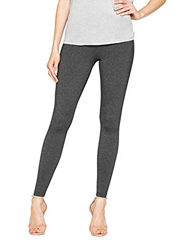 Matty M Ladies Thick Material Leggings with Wide Elastic Waistband (Charcoal Heather, Large)]()