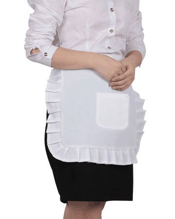 UoUo Adjustable White Half Apron with Pocket, Coffee Apron, Restaurant Apron,Classic Apron, Halloween Cosplay ()