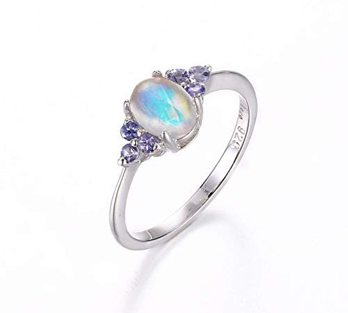 Wedding moonstone ring delicate rainbow moonstone for her tiny moonstone engagement 14K white gold ring Tanzanite ring December Birthstone Christmas gift (Jewelry Gold Tanzanite White Ring)