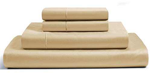 CHATEAU HOME COLLECTION Luxury 800-Thread-Count 100% Egyptian Cotton Bed Sheets, 4 Pc King - Semolina Sheet Set, Single Ply Long-Staple Yarns, Sateen Weave, Fits Mattress Upto 18'' Deep ()
