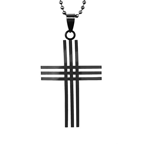 FashionOn J2018 Exporters Internet Black Triple Cross Stainless Steel Necklace Beautiful Pendant Box