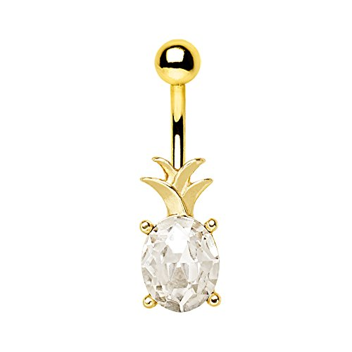 Gold Plated Stainless Steel Belly Button Ring - 2