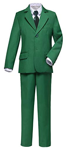 Visaccy Kids Suits Boys Slim Fit Dress Formal Tuxedos Green Size 14