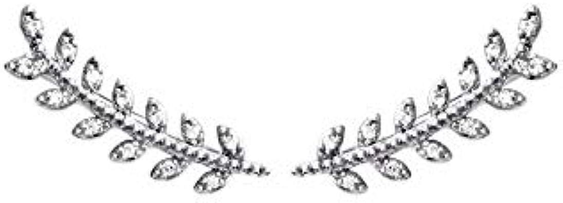 Hebillas de oreja de laurel y plata rhodie engarzar de colección, diseño con brillantes