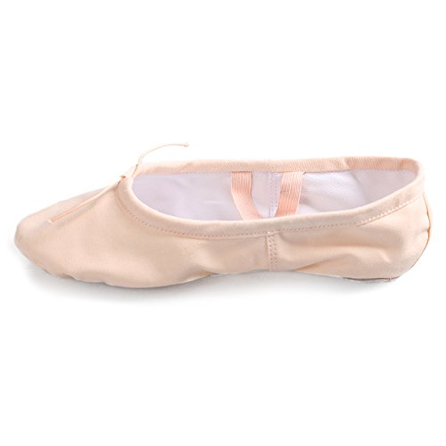Roymall Women's&Girls Light Pink Canvas Ballet Dance Shoes/Slipper/Yoga/Gymnastics Flat Split Sole Shoes,CBC,12.5 M Little Kid ()