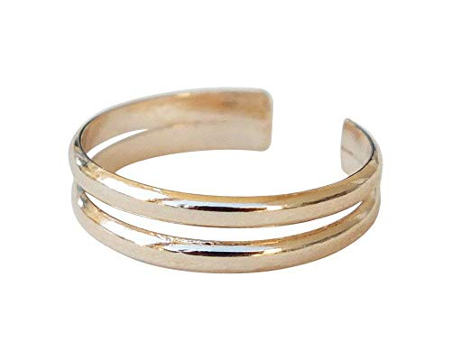 Gold Handmade Toe Ring Knuckle Ring, Double Band