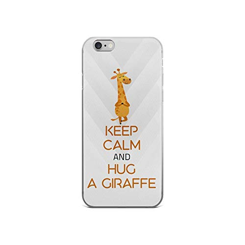 iPhone 6/6s Pure Clear Case Cases Cover Keep Calm and Hug Giraffe Cute Animal TPU Flexible Compatible Protective