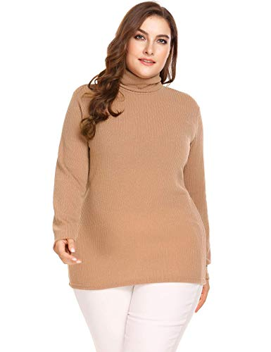 Cable Knit Pullover - IN'VOLAND Plus Size Women's Cable Knit Turtleneck Tunic Long Sleeve Sweater Pullover