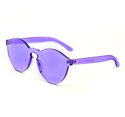 YANQIUYU One Piece Rimless Sunglasses Transparent Candy Color Eyewear Ultra-Bold Colorful Mono Block (Transparent&purple, - Color Sunglasses