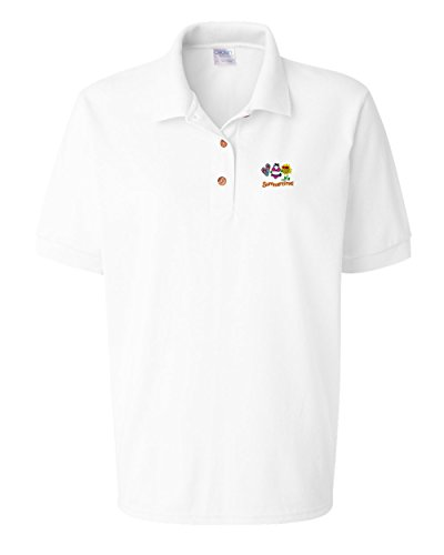 Speedy Pros Summer Flipflops Bikini Embroidered Polo Women Cotton Golf Shirt - White, 2X ()