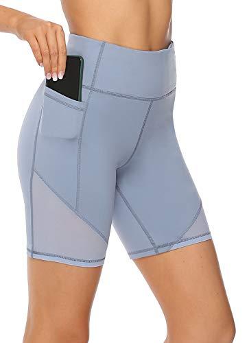 Edeey Yoga Shorts for Women Pockets High Waisted Athletic Leggings Tummy Control Spandex Workout Shorts for Running Mesh Stretch Compression Bike Biker Short Smoky Blue XL