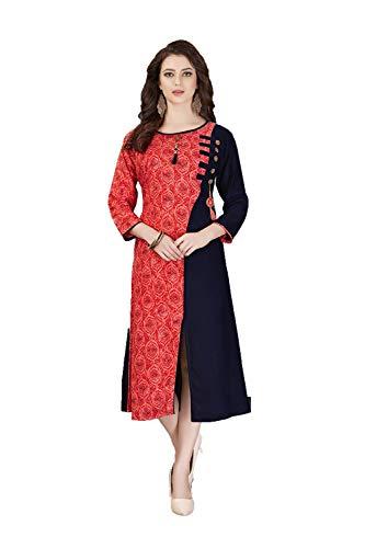 Red Facioun Traditonal Indian Kurti Readymade Ethnic Black Designer Partywear Da 2 Women zqwdzA