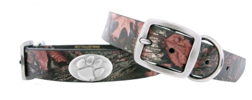 Zep-Pro Clemson Tigers Camouflage Leather Concho Dog Collar, Large