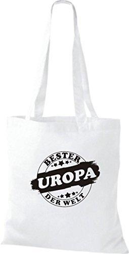 ShirtInStyle Bolso de tela Bolsa de algodón Bester UROPA der Welt Blanco
