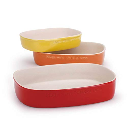 Made with Love Yellow, Orange and Red Nesting Stoneware Casserole Baker Set of 3