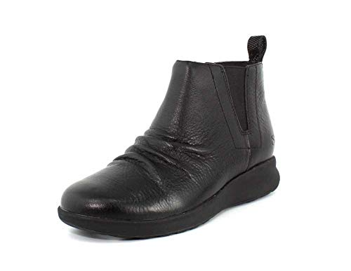 CLARKS Womens Un Adorn Mid Boot Black Leather