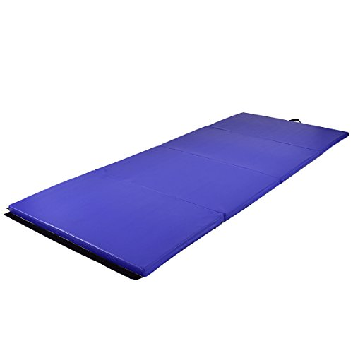 Exercise Mat 4'x10'x2 Gymnastics Folding Panel Thick Gym Fitness Blue with Ebook