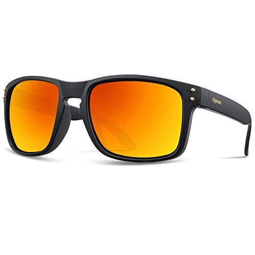 Sunglasses | Sun Glasses | UV 400 Protection with 55mm Mirrored Lenses for Men Women Lightweight 22g Orange ()