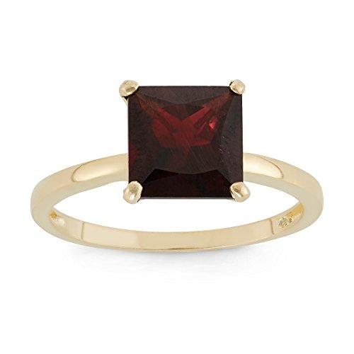 Celebration Moments Garnet Princess Cut Ring in 10K Yellow Gold, 8mm - Size 5