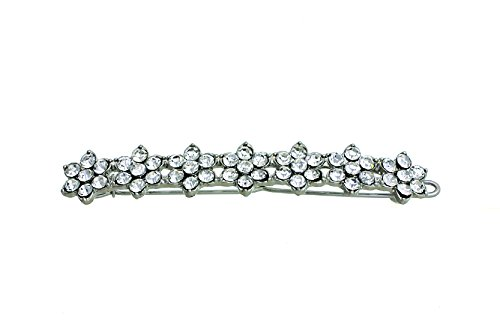 7-Flowers Crystal Hair Pin - Set of 2 - Gold Gift-Boxed