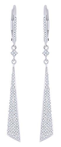 Rount Cut White Natural Diamond Tapered-Stiletto Dangle Earring in 14K White Gold (0.36 Cttw)