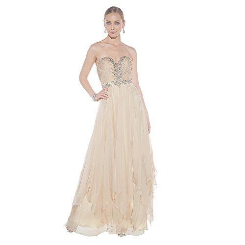 Alyce Paris Strapless Chiffon Gown Champagne – 8