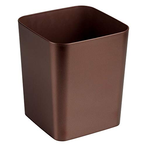 mDesign Square Shatter-Resistant Plastic Small Trash Can Wastebasket, Garbage Container Bin for Bathrooms, Powder Rooms, Kitchens, Home Offices - Venetian Bronze - Square Garbage