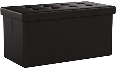 SONGMICS 30 Inches Folding Storage Ottoman Bench with Flipping Lid, Storage Chest Footstool Coffee Table, Faux Leather, Brown ULSF45BR