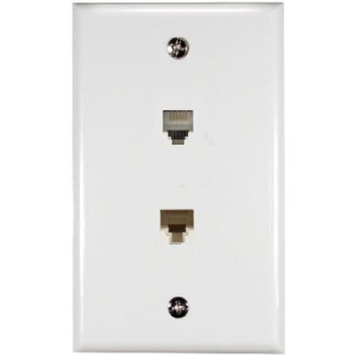 (RCA RJ45/Phone and Internet Port Wall Plate - White (TPH551R))