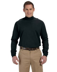 Unisex Sueded Cotton Jersey Mock Turtleneck Shirt, Color: Black, Size: X-Large