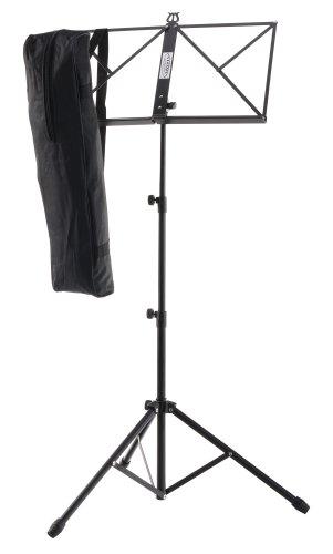 Classic Cantabile Notenständer inkl. Tasche (Höhenverstellbar, 44-97 cm, rutschfeste Gummifüße, Tragetasche mit Schultergurt, stabil) schwarz