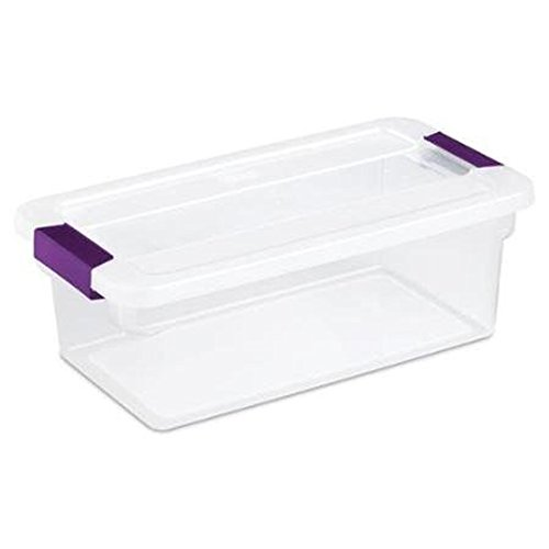Sterilite 6 Quart ClearView Latch Storage Container With Sweet Plum (See Thru Bins Toy Box)