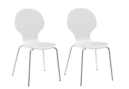 White Dinette Set - Novogratz Shell Bentwood Modern Round Chairs, White, Set of 2
