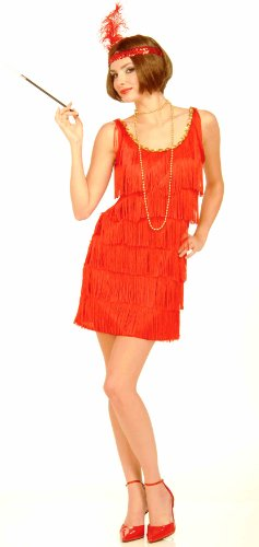 Womens 1920s Costume Red Fringe Flapper Girl Dress * Womens US XL (fit 14 to 18)