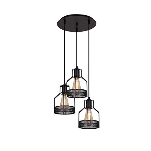 LightingPro 3-Light Vintage Wire Metal Cage Pendant Lights Industrial Kitchen Island Lighting Rustic Farmhouse Hanging Light Fixtures with Round Base