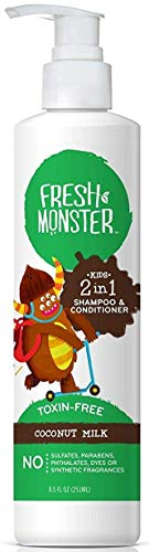 (Fresh Monster Toxin-free Hypoallergenic 2-in-1 Kids Shampoo & Condition, Coconut, 8.5 ounces)