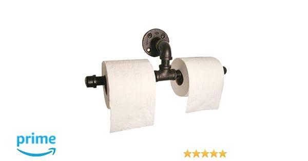 IMQOQ Portarrollos doble para papel higiénico de estilo urbano industrial rústico en tubo de hierro montado en la pared: Amazon.es: Hogar