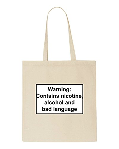 Bad Themed Shopper Nicotine Beige Language Bag Statement Warning Tote Alcohol Contains And vqSZ6yYIw