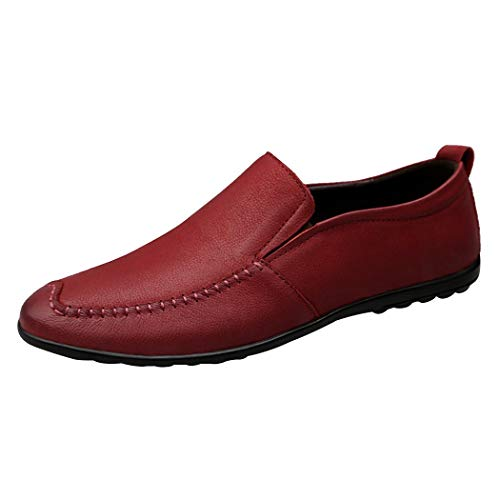 Duckmole Men's British Style Lightweight Breathable Leather Driver Walking Shoes Casual Slip-on Loafer Burgandy