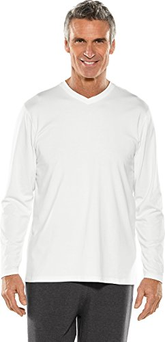 - Coolibar UPF 50+ Men's Long Sleeve Everyday V-Neck T-Shirt - Sun Protective (X-Large- White)